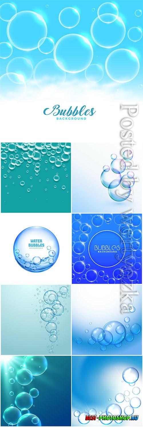 Water or soap bubbles floating vector background