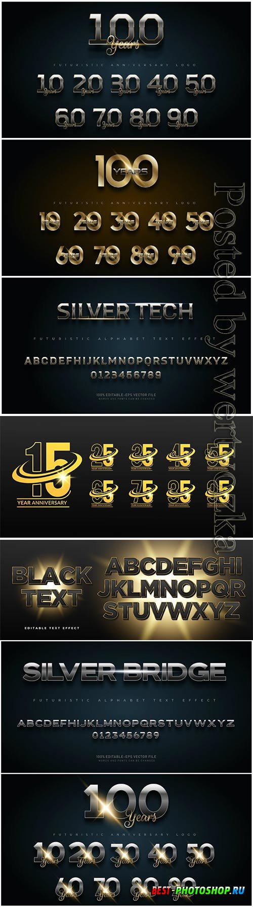 Gold and silver anniversary number set logo, alphabet fonts with text effect