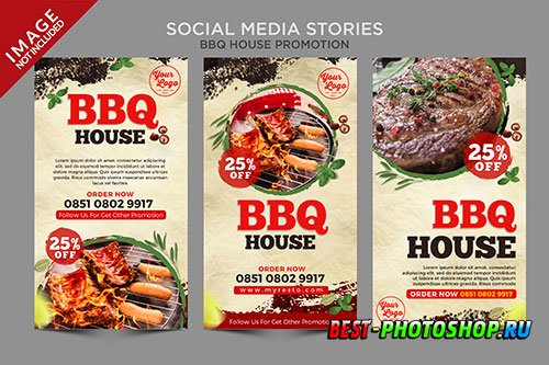Bbq house social media stories series