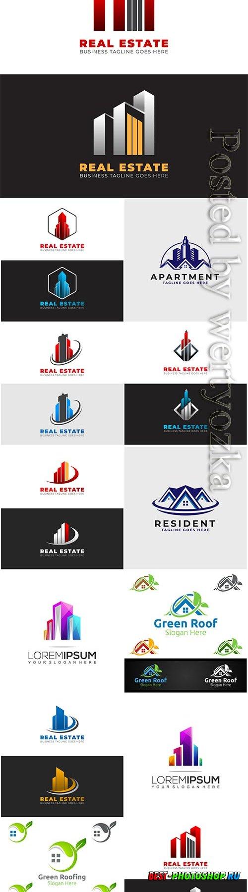 Estate logo template design with modern shapes
