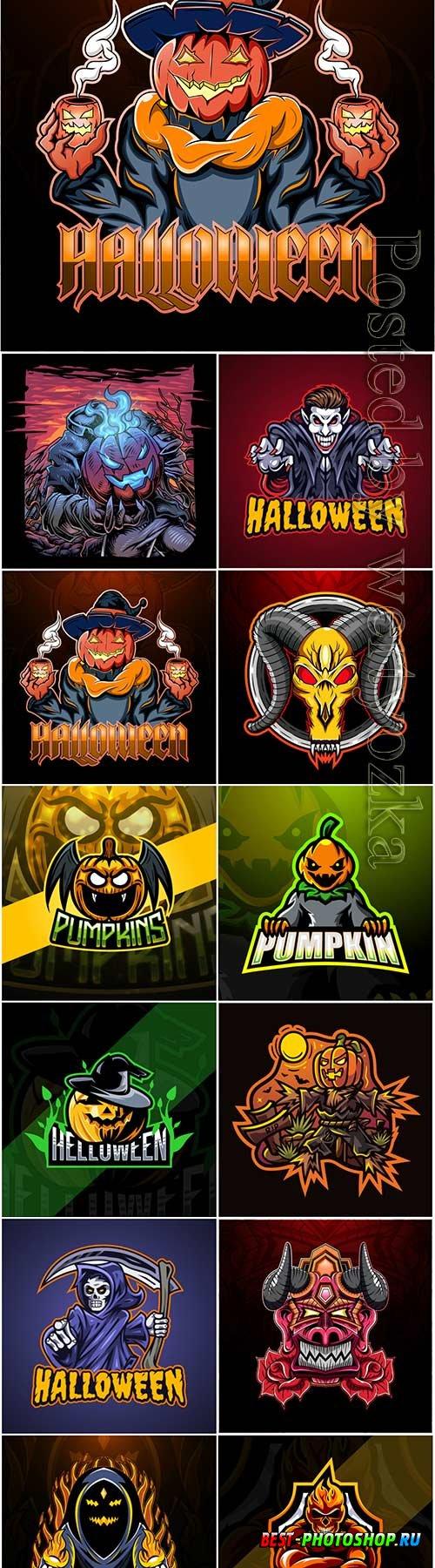 Halloween pumpkin esport vector logo mascot