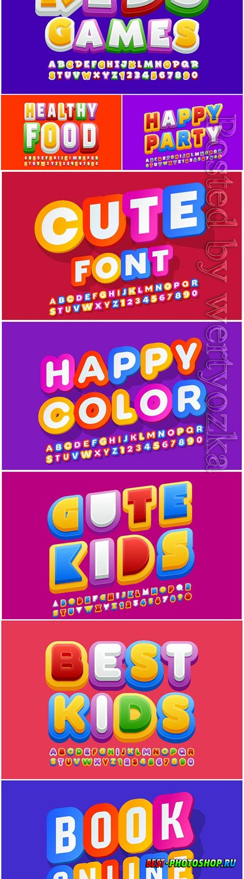 Colorful font for children, creative alphabet letters and numbers