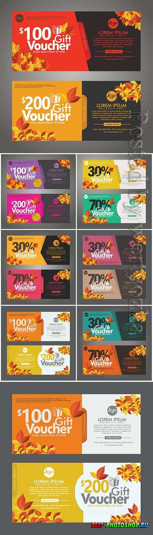 Autumn gift voucher discount cards vector template