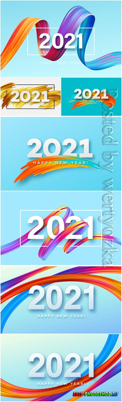 2021 happy new year color flow background
