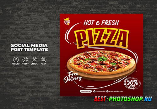 Food restaurant menu and delicious pizza