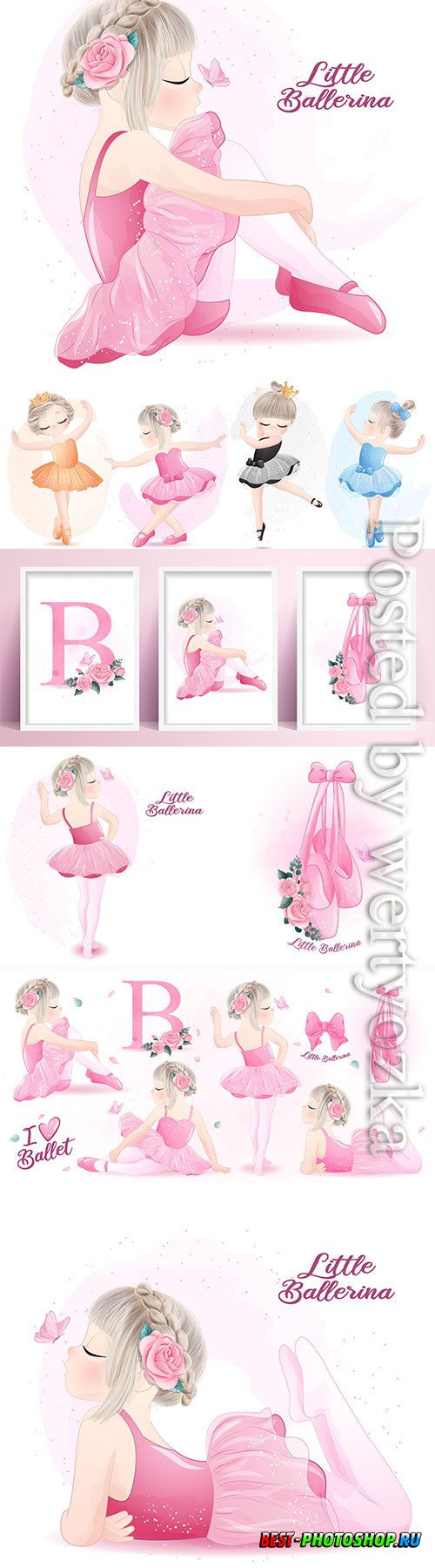 Cute girl ballerina watercolor illustration vector set