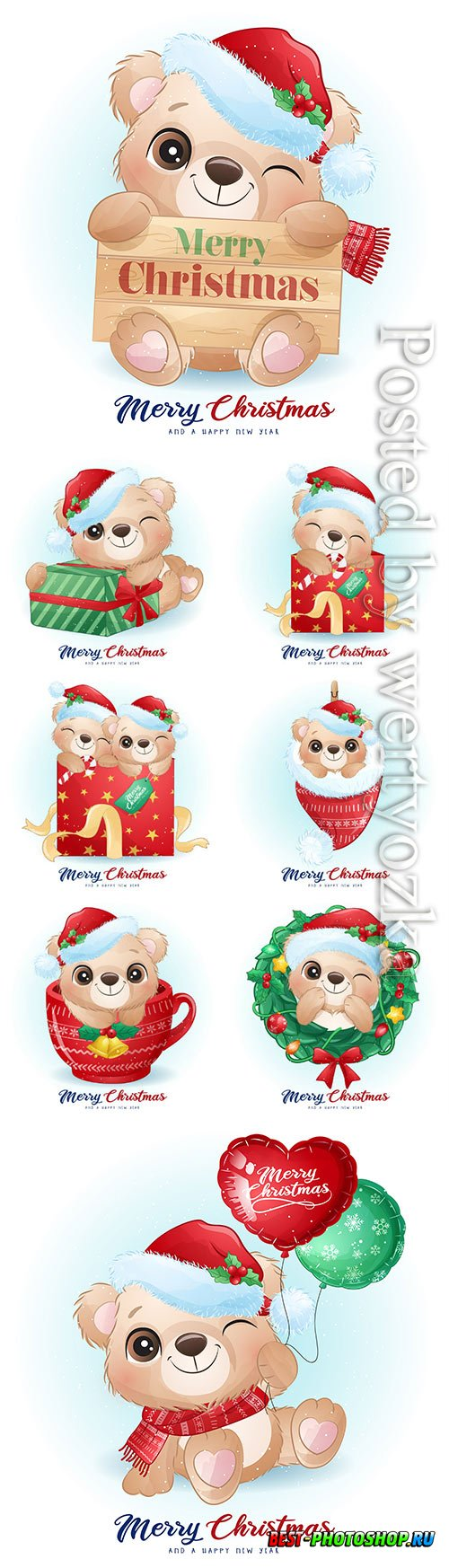 Cute doodle bear for christmas day with watercolor vector illustration