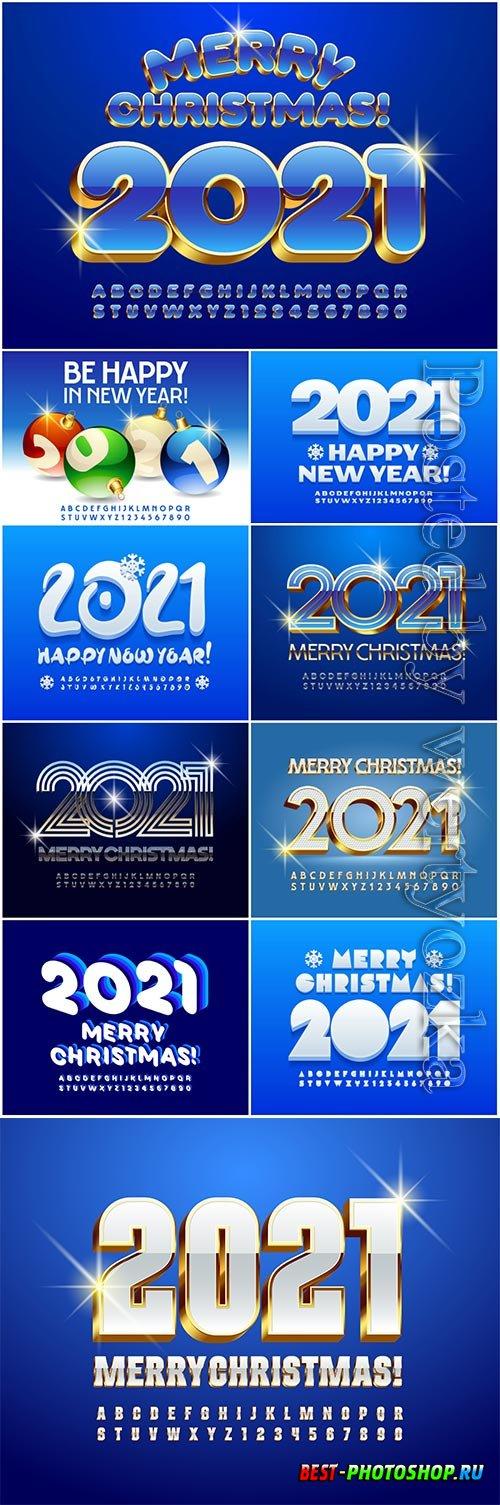 Vector greeting card merry christmas 2021