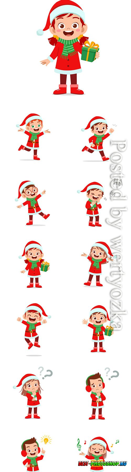 Happy cute little kid boy and girl wearing red christmas costume