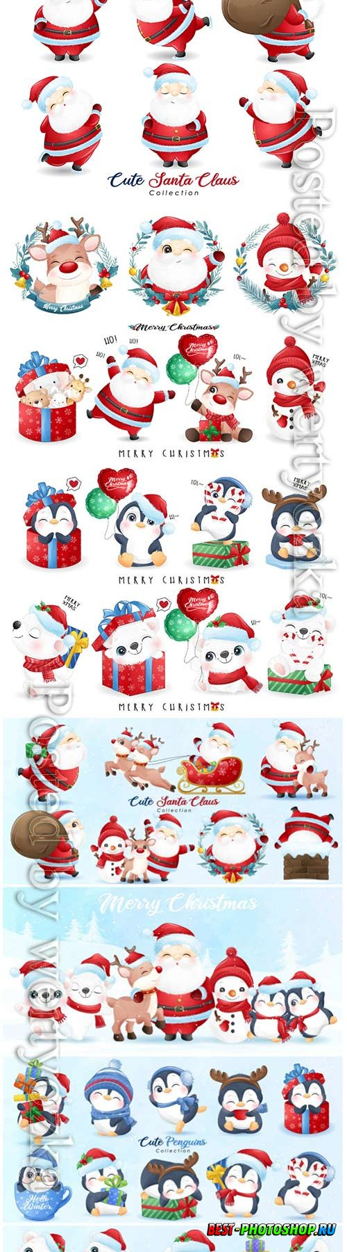 Cute santa claus and friends for christmas day with watercolor vector illustration