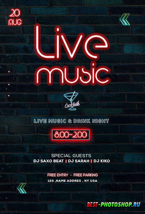 Live Music Neon - Premium flyer psd template