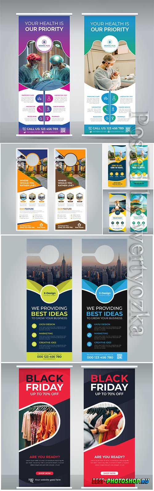 Vector roll up banner design template