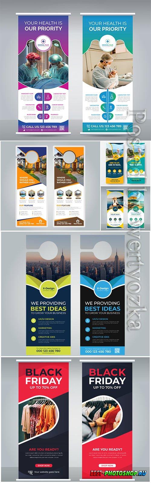 Vector roll up banner design template