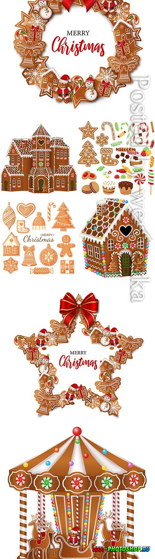 Vector christmas set gingerbreads