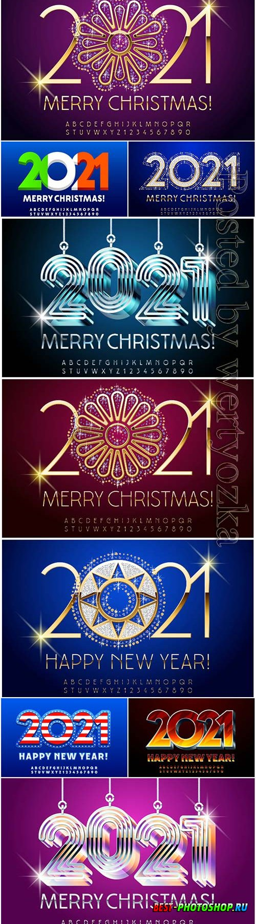 Luxury greeting card merry christmas 2021, alphabet letters and numbers set premium vector