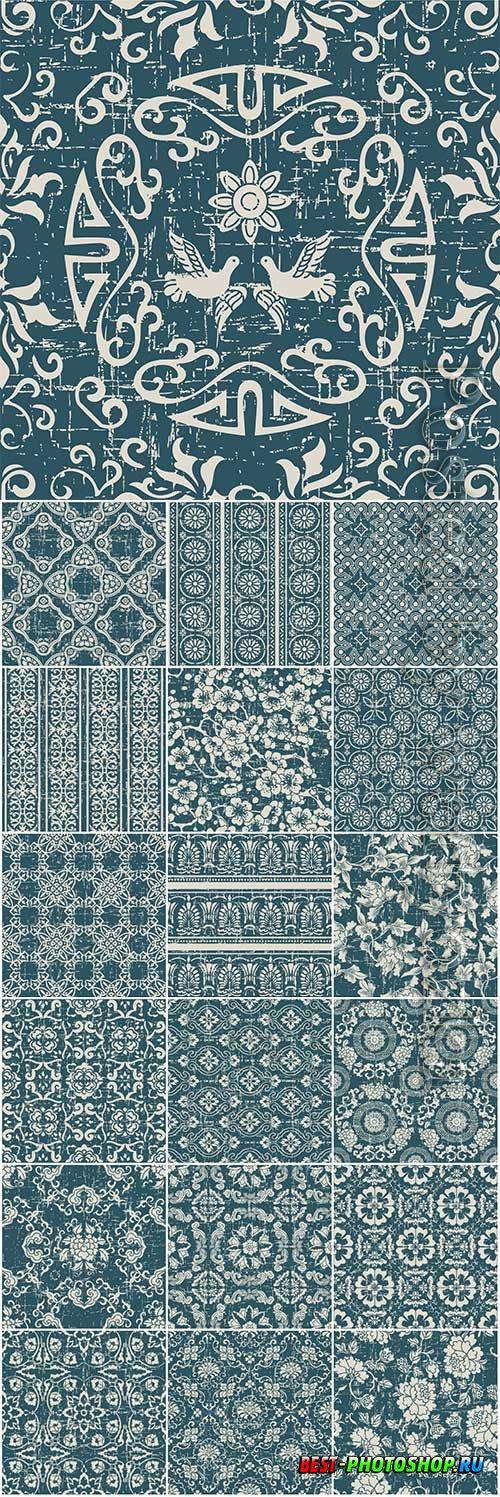Antique seamless pattern with botanic garden flower leaf premium vector