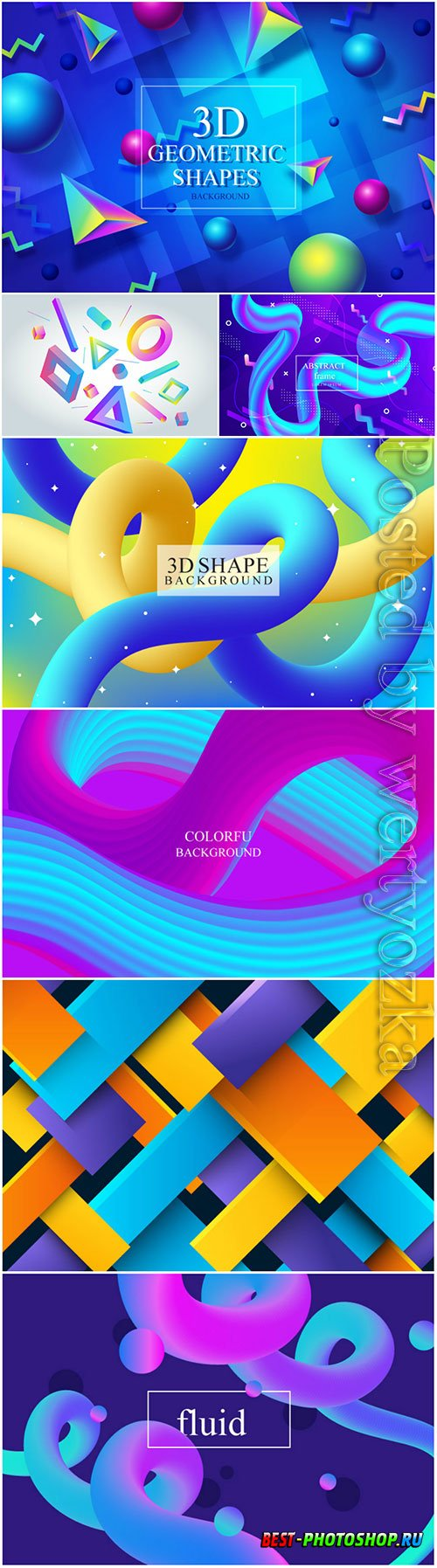 Colorful fluid 3d shape vector abstract  background