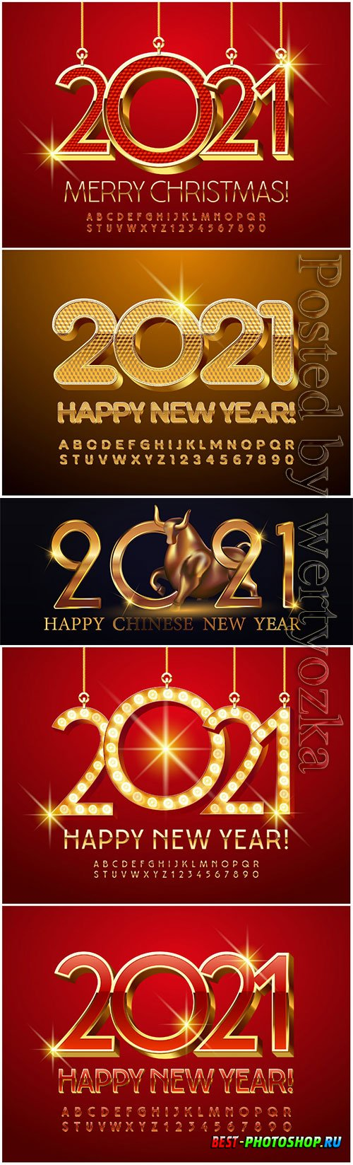Merry christmas 2021, golde alphabet letters and numbers, shiny font