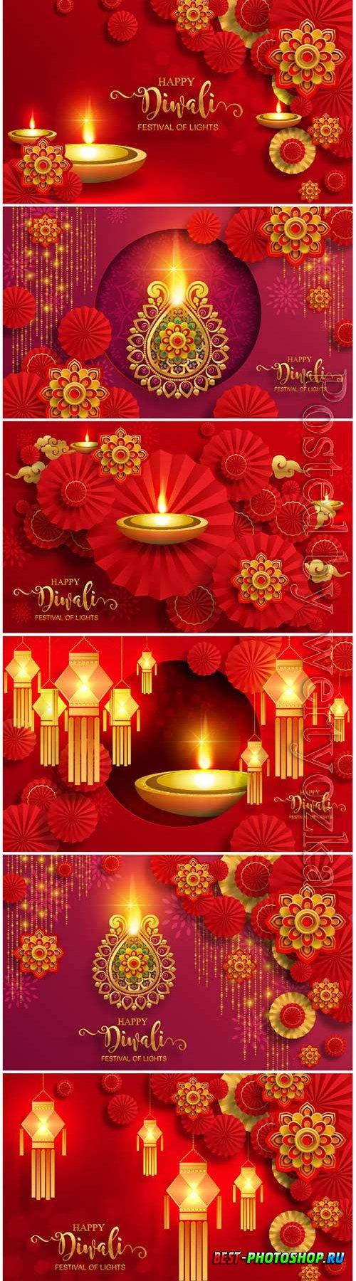 Diwali, deepavali or dipavali the festival of lights india with gold diya vector patterned
