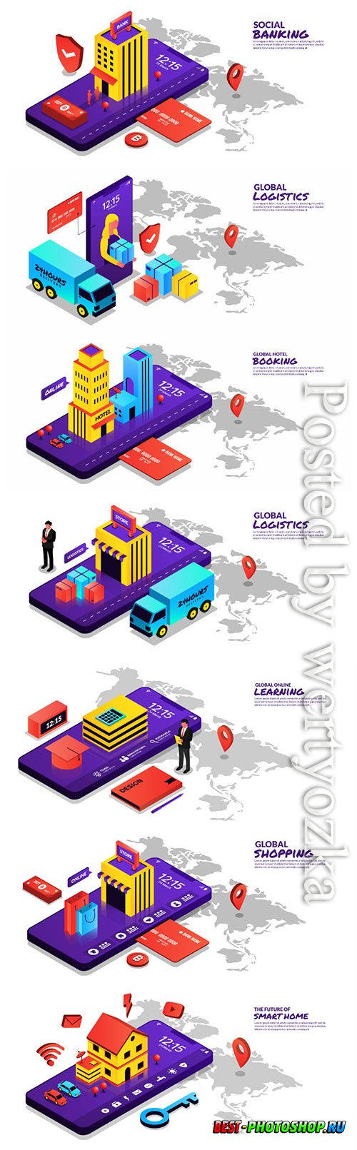 Global concept online vector illustration isometric