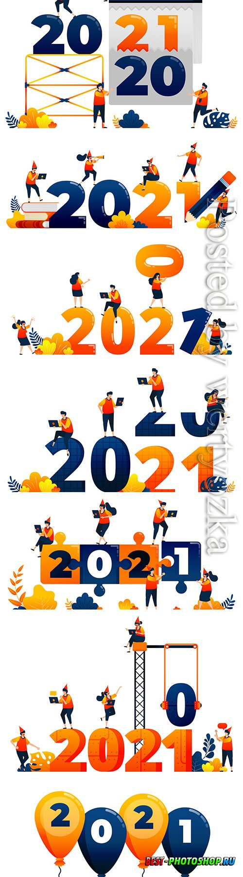 Countdown theme of teamwork in the following year concept vector