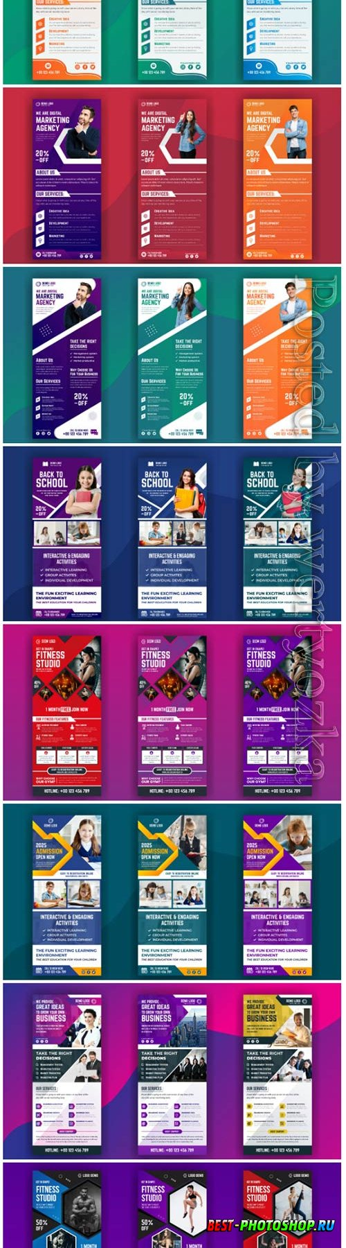 Roll up banner template collection vector illustration