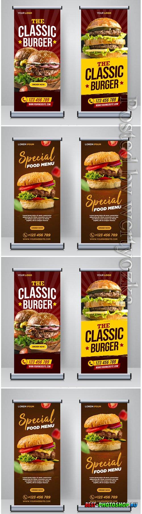 Restaurant food social media banner post design template vector