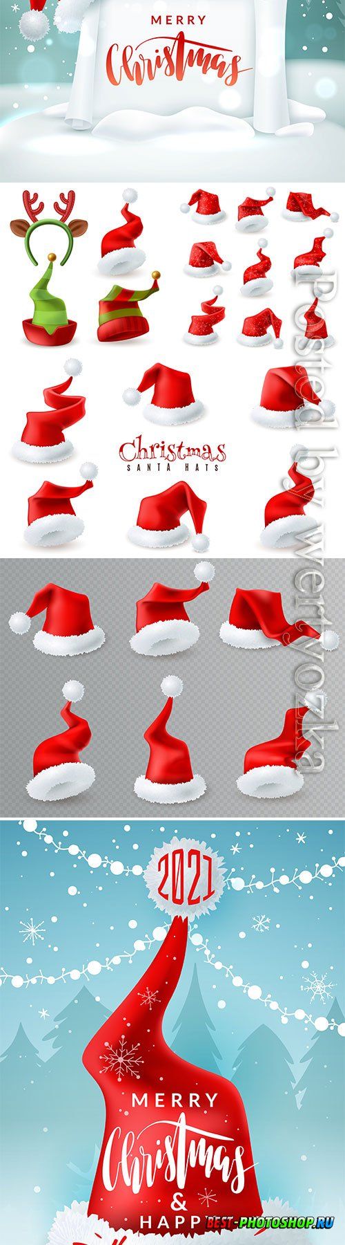 Merry christmas greeting with santa hat illustration vector