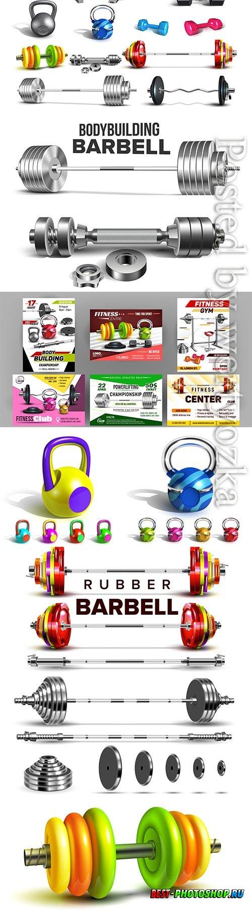 Fitness club sport advertise vector set
