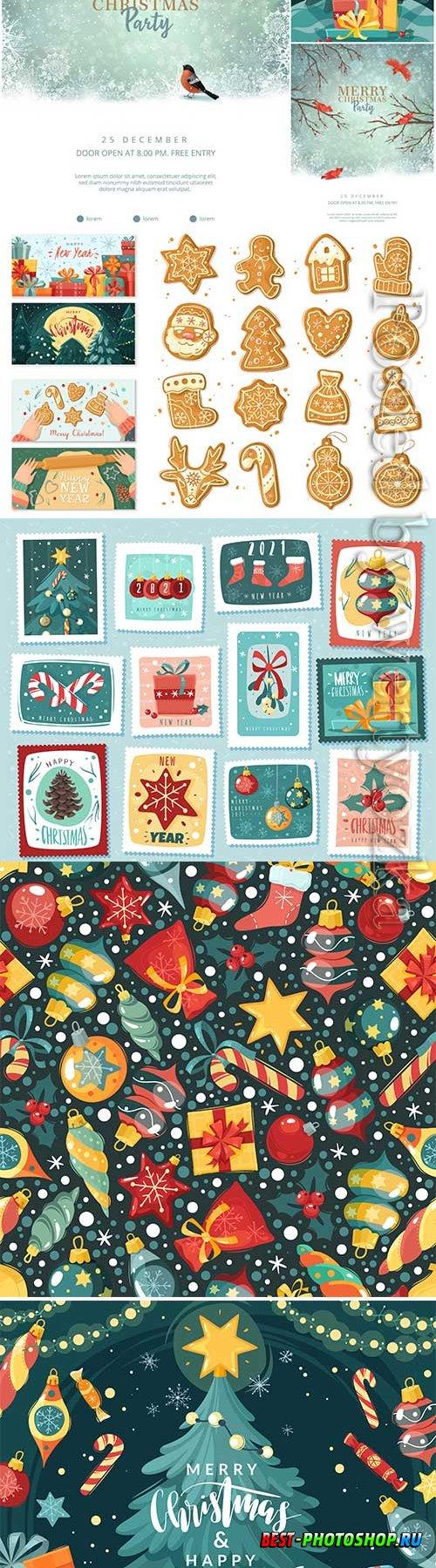 Christmas vector illustration, christmas tree with gifts