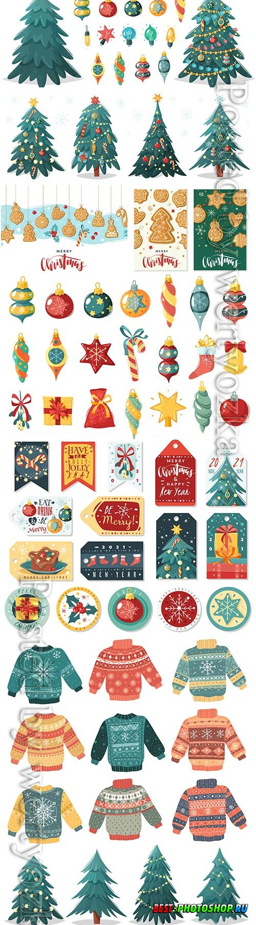 Christmas cartoon illustration, christmas tree with gifts in vector