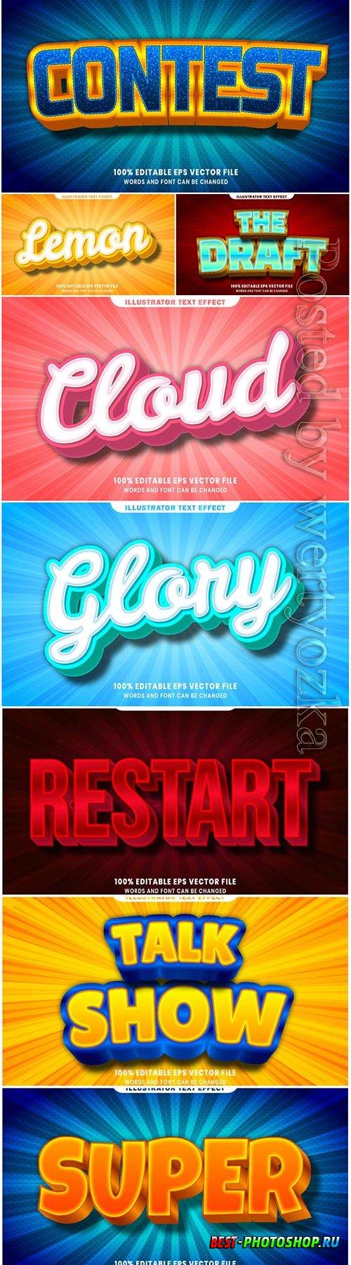 3d editable text style effect vector vol 7