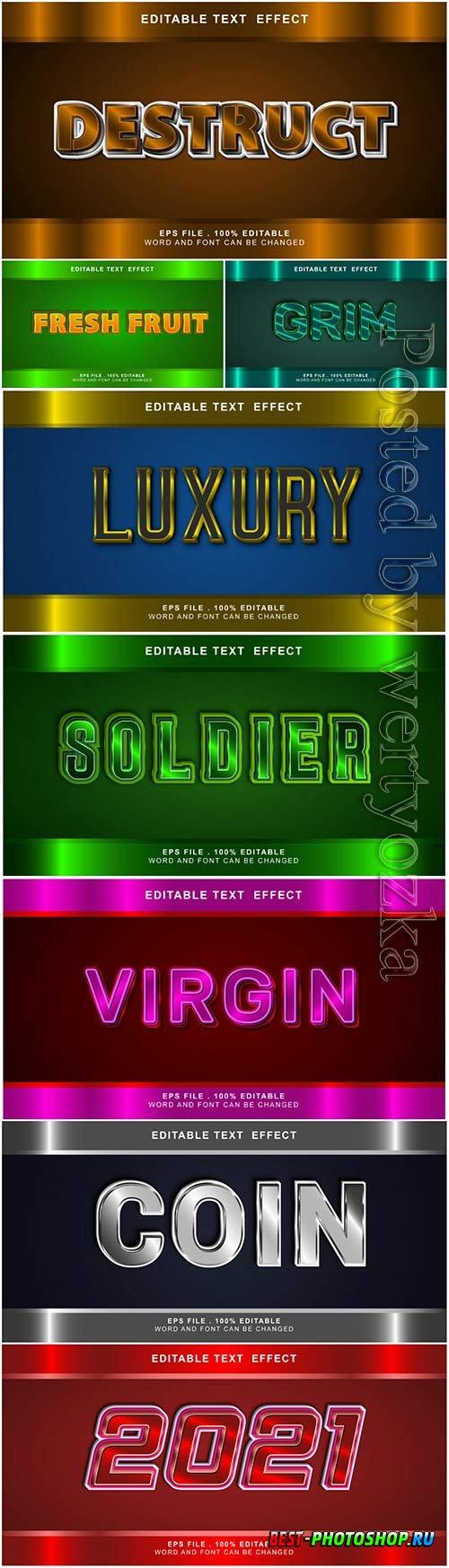 3d editable text style effect vector vol 2