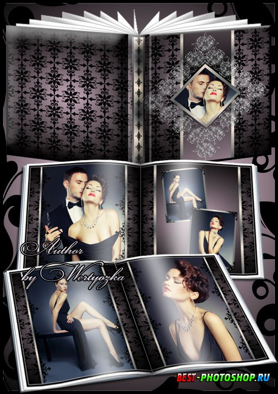 Vintage photo album with beautiful ornaments