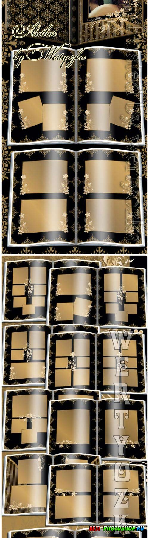 Beautiful photo album with golden ornaments