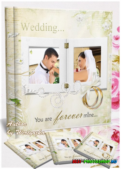 Wedding photo album in gentle light colors