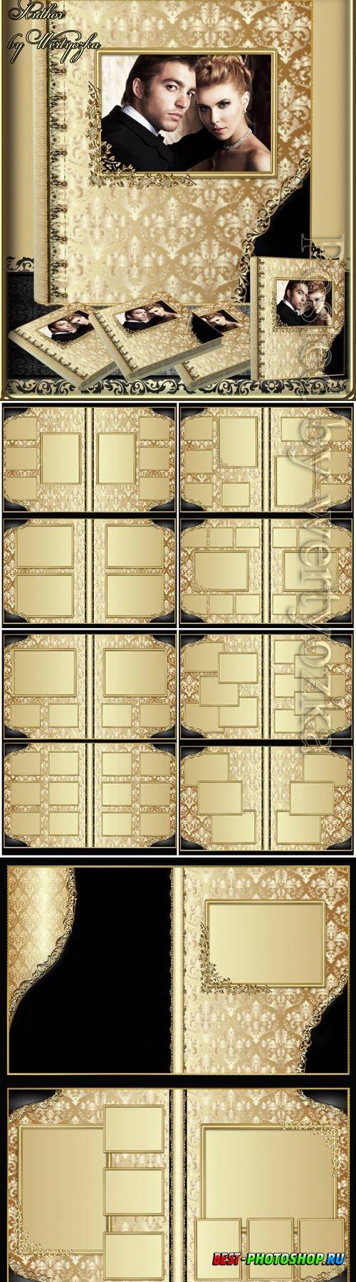 Photo album with golden design