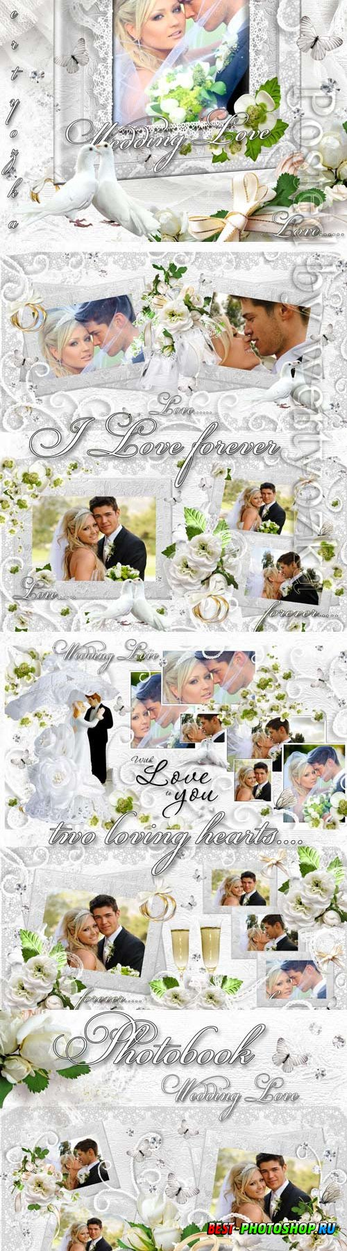 Wedding photo album with white flowers and doves