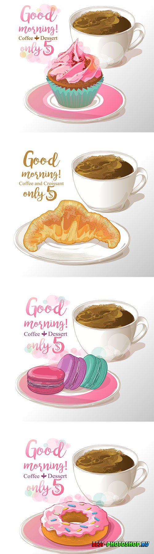 Cup of coffee with donut in vector