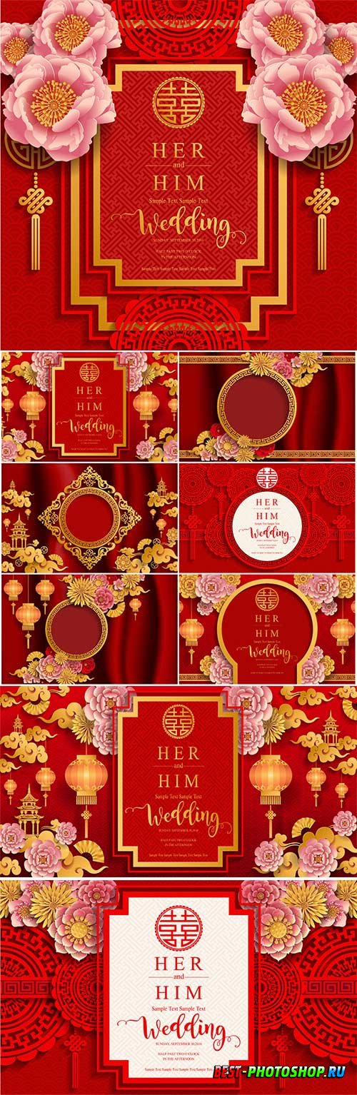 Chinese backgrounds with flowers in vector