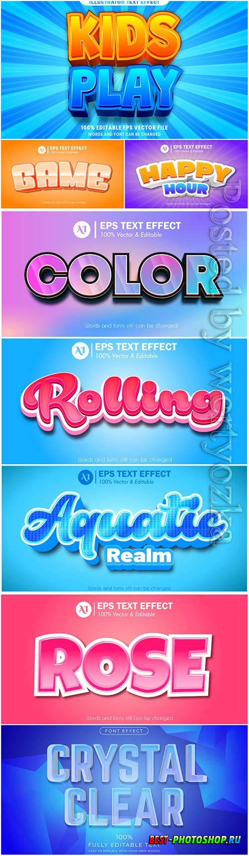 3d editable text style effect vector vol 49