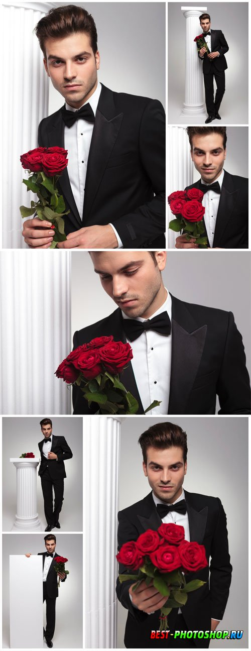 Man with red roses stock photo