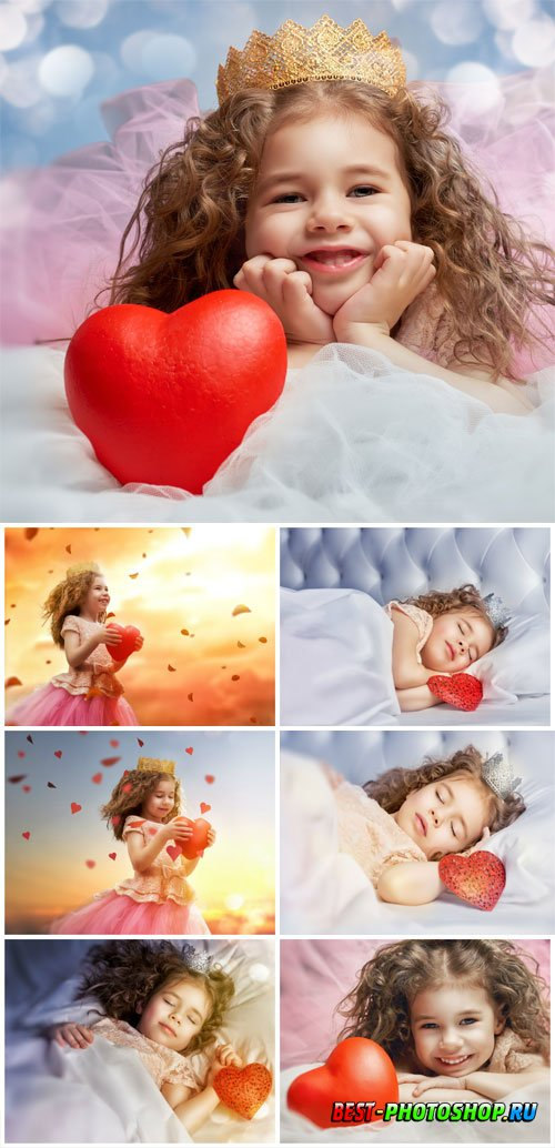 Little girl with heart stock photo
