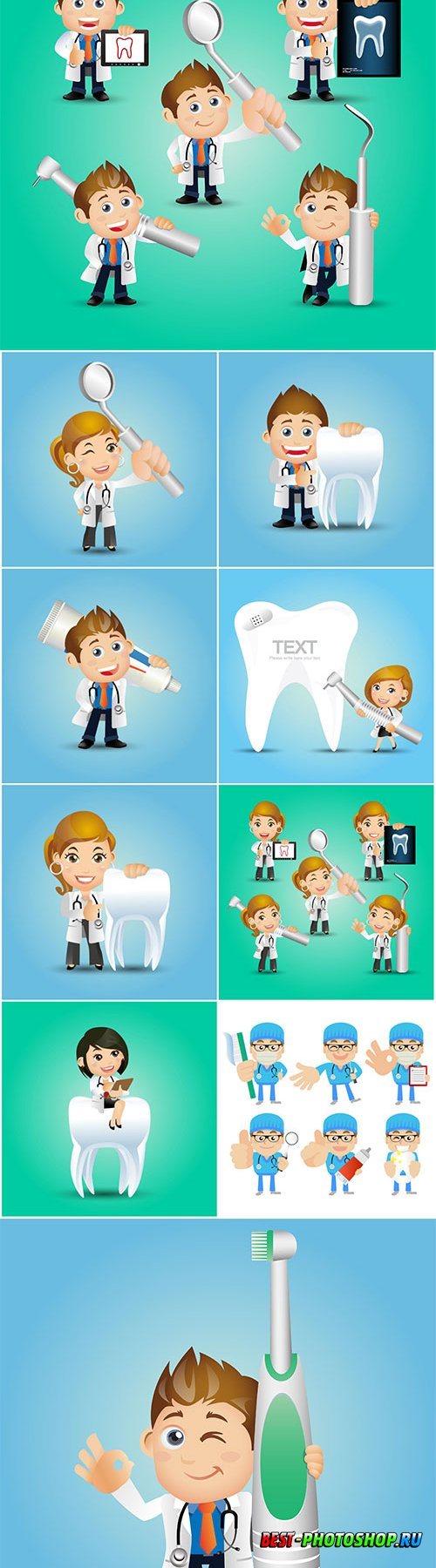 People vector set profession dentist