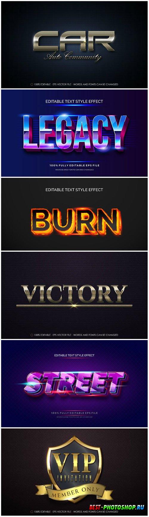3d editable text style effect vector vol 178