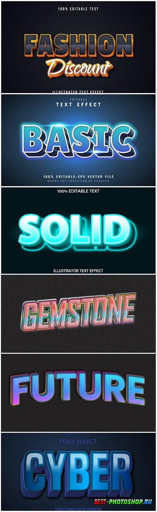 3d editable text style effect vector vol 174