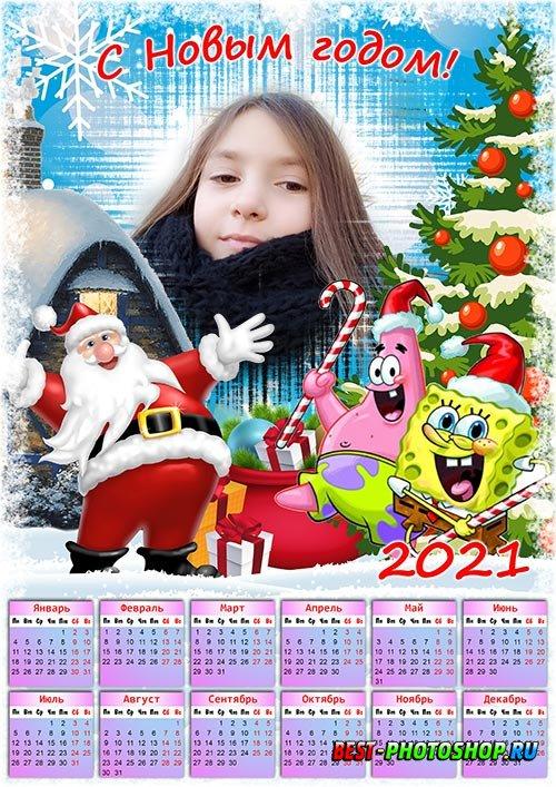 Детский календарь на 2021 год - Новый год с Спанч Бобом