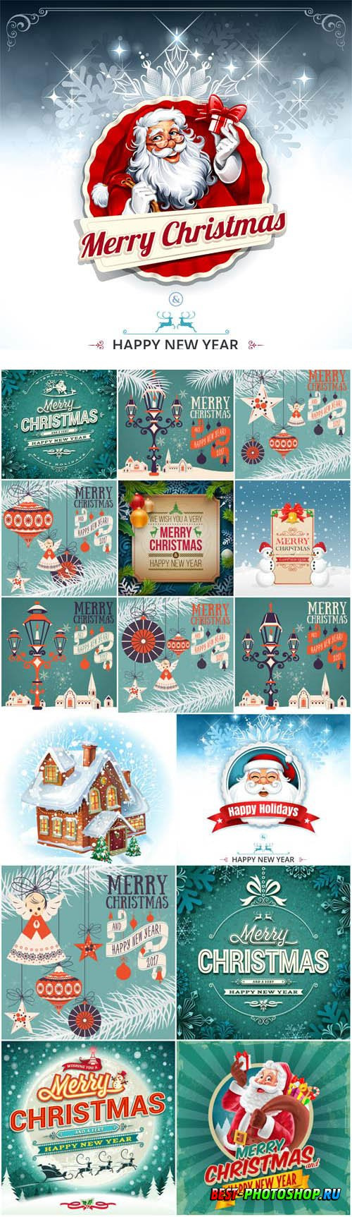 New Year and Christmas illustrations in vector 58