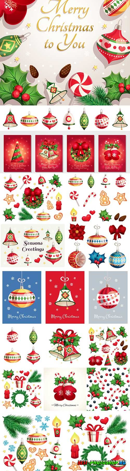 Merry christmas and happy new year card with decorative elements, christmas toys, bells, snowflakes and stars