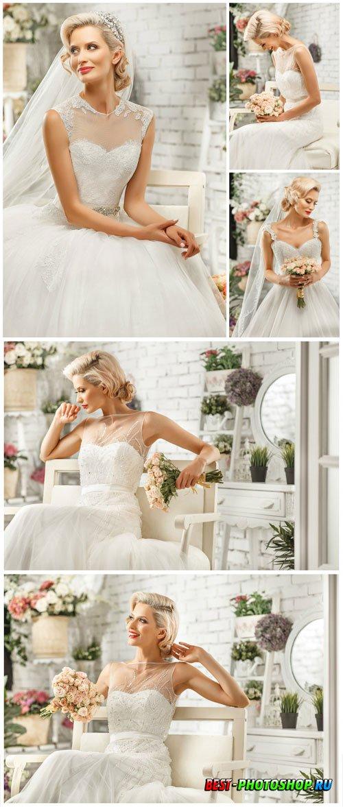Beautiful bride posing in studio stock photo